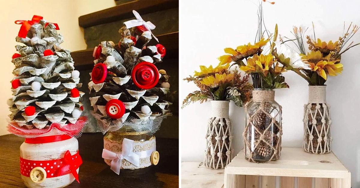 Décorations DIY originales avec des pommes de pin.