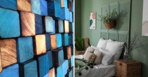 Tête de lit fabriquée à partir d'objets recyclés.