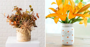Vase de fleurs d'automne centre de table récup'